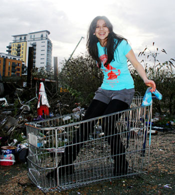Girl in shopping trolley
